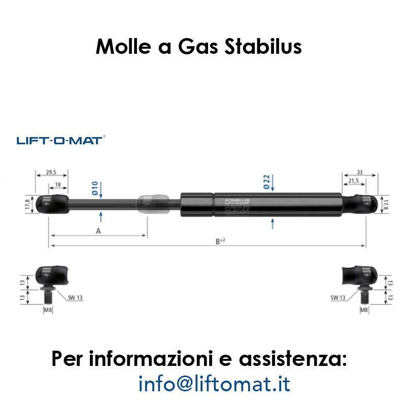 Molle a gas Stabilus LIFT-O-MAT 10mm x 22mm con snodo