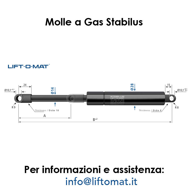 Stabilus 340000276 Molla a Gas Lift-o-Mat 1386BY