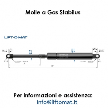 Molle a gas Stabilus LIFT-O-MAT 10mm x 22mm con foro