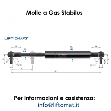 Molle a gas Stabilus LIFT-O-MAT 14mm x 28mm