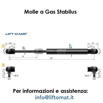 Molla a gas Stabilus LIFT-O-MAT Ø8mm x Ø19mm con snodo